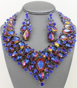 Blue Crystal Statement Jewelry Set