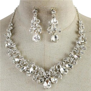 Fabulous Furs Crystal Teardrop Necklace And Earring Set