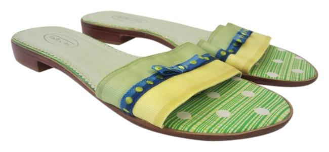 Item - Lime Green Yellow & Blue Green/Yellow/Blue Slip-on with Small Stacked Heel 8aa Sandals Size US 8