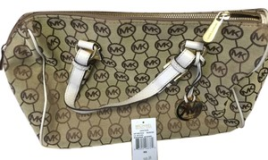 Michael Kors Satchel in Light Beige with MK design
