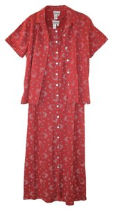 Red with white and black floral pattern Maxi Dress by Coldwater Creek Long Set Knit Relaxed Fit Easy Care