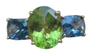 10K Yellow Gold London Blue Topaz and Peridot Ring