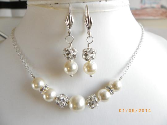 Other Sale Pearl Bridal Jewelry Set Necklace And Earrings Bridal Set Swarovski Pearl Rhinestone Ball Beads Necklace Cream