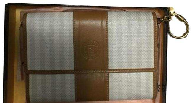 Item - Small Purse Light Tan with Beige Stripes. Leather Baguette