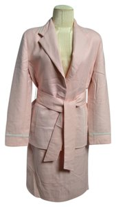 Louis Feraud Louis Feraud Light Pink & White Detail Two Piece Wool Skirt & Button Suit Size 8