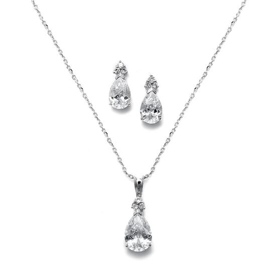 Mariell 4 Sets Of Cz Bold Pear Drop Jewelry For Your Bridesmaids