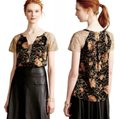 Anthropologie Burout Velvet Sparkly Bling Metallic Fibers Pullover Styling Happy Floral Top Black Gold Image 1