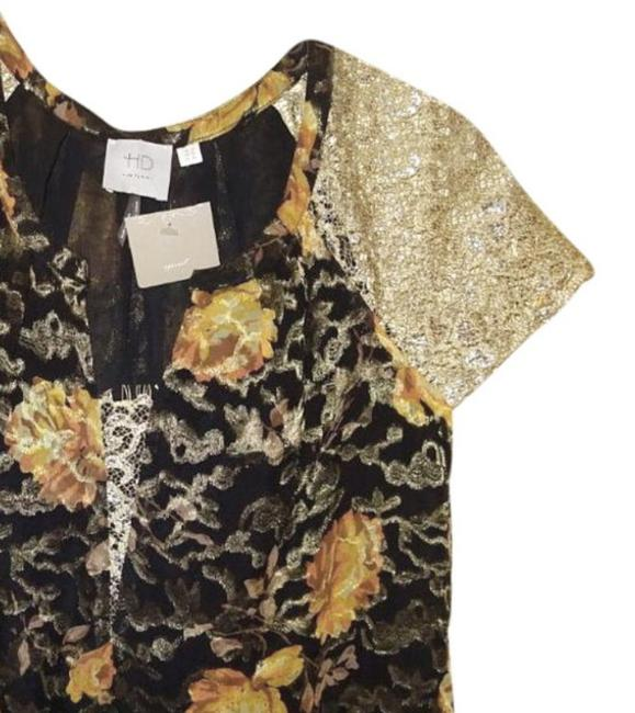 Anthropologie Burout Velvet Sparkly Bling Metallic Fibers Pullover Styling Happy Floral Top Black Gold Image 7