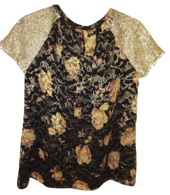 Anthropologie Burout Velvet Sparkly Bling Metallic Fibers Pullover Styling Happy Floral Top Black Gold Image 8