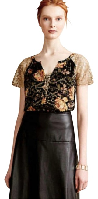 Anthropologie Burout Velvet Sparkly Bling Metallic Fibers Pullover Styling Happy Floral Top Black Gold Image 2