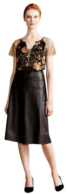 Anthropologie Burout Velvet Sparkly Bling Metallic Fibers Pullover Styling Happy Floral Top Black Gold Image 3