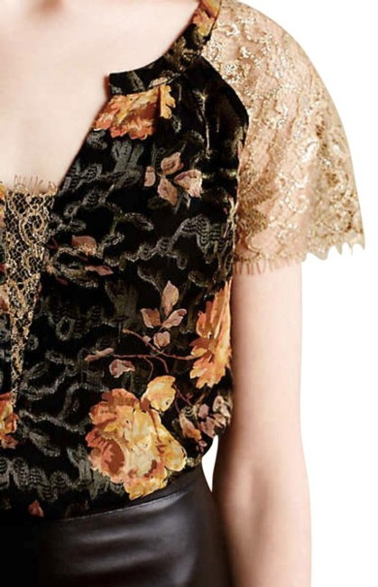 Anthropologie Burout Velvet Sparkly Bling Metallic Fibers Pullover Styling Happy Floral Top Black Gold Image 4