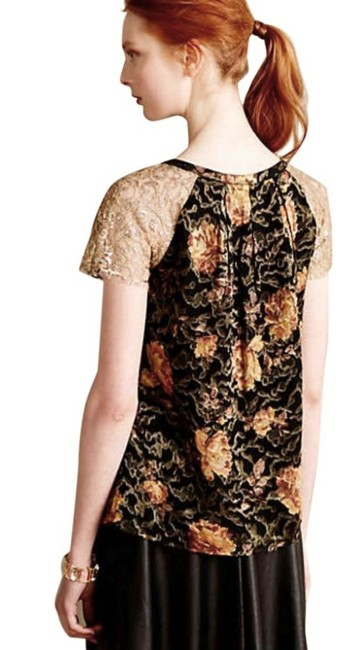 Anthropologie Burout Velvet Sparkly Bling Metallic Fibers Pullover Styling Happy Floral Top Black Gold Image 5