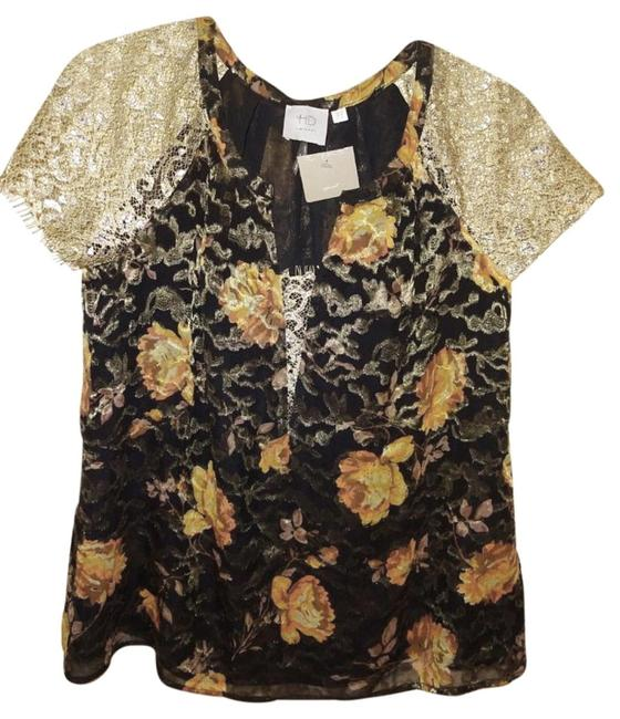 Anthropologie Burout Velvet Sparkly Bling Metallic Fibers Pullover Styling Happy Floral Top Black Gold Image 6