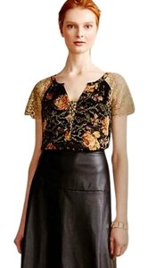 Anthropologie Burout Velvet Sparkly Bling Metallic Fibers Pullover Styling Happy Floral Top Black Gold