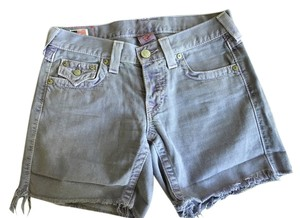 True Religion Boyfriend Shorts Light Cut Offs Button Up Jayde Denim Shorts-Light Wash