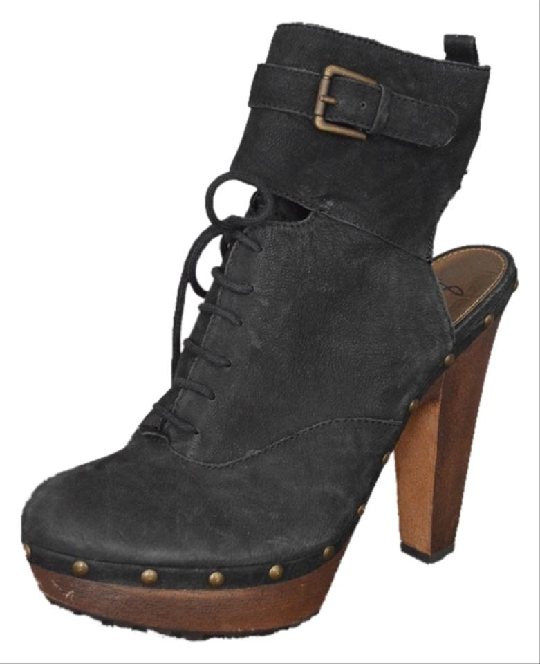 1dff9ad94 Sam Edelman Clog Heel High Free People Hippie Coachella Ankle Strap Leather  Suede Black Boots Image ...