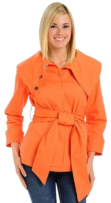 Preload https://img-static.tradesy.com/item/737101/coral-portrait-collar-belted-twill-spring-jacket-size-12-l-0-0-650-650.jpg