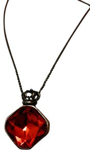 red glass stone pendant necklace