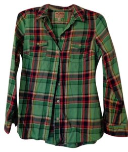 Old Navy Button Down Shirt Green and Pink Plaid