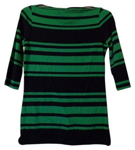 Cynthia Rowley Top Green and Navy Stripe