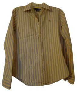 Ralph Lauren Button Down Shirt Yellow Stripe