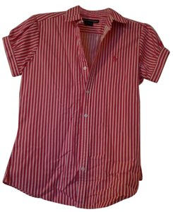 Ralph Lauren Button Down Shirt Red and White Stripe