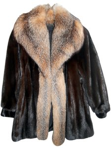 Flemington Furs Mink Mink Fox Fur Trim Fur Coat