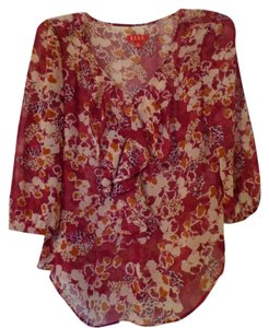 Elle Top Dark Red with Floral Design