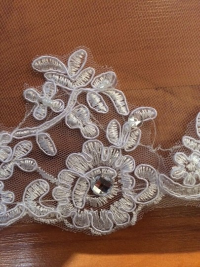 White Long New Cathedral Length with Alencon Lace Bridal Veil