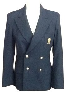 Ralph Lauren Crest Embroidered Double Breasted Navy Blazer