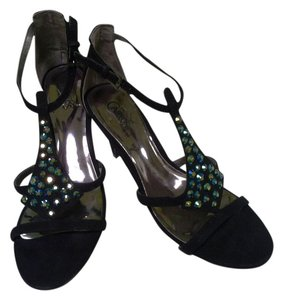 Carlos by Carlos Santana Black with crystal like embellishments Sandals