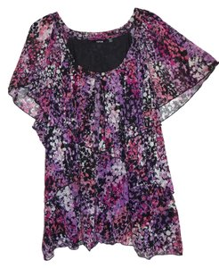 Apt. 9 Ruffle Top Floral, Pink, Purple, Black, Magenta