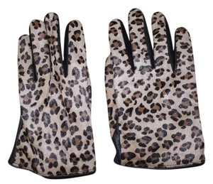 J.Crew J. Crew Leather Calf Leopard Gloves- Portolano - Size M