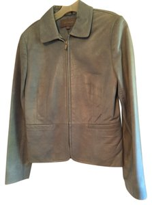 Ann Taylor Lambskin Leather Pale Blue Leather Jacket