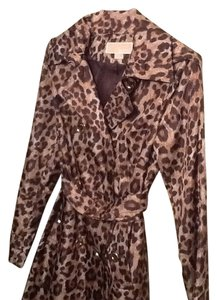Michael Kors Trench Hooded Leopard Jacket Raincoat