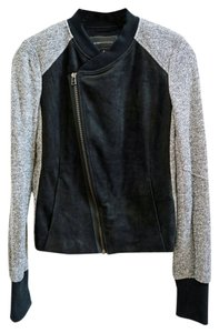 BCBGMAXAZRIA Moto Mixed Fabric Faux Suede French Terry Shredded Detail Black Grey Combo Jacket