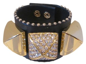 Juicy Couture Juicy Couture Pave Pyramid Black Gold Leather Stud Cuff Bracelet