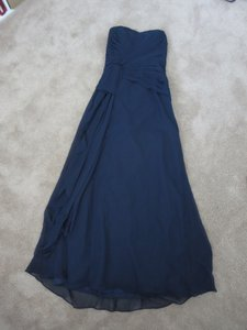 Belsoie Navy Blue Strapless Chiffon Bridesmaid Dress