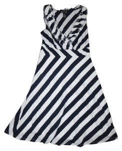 INC International Concepts short dress Navy Blue, White Striped on Tradesy