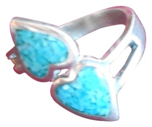 9.2.5 sterling .925 crushed turquoise 2 heart ring size 5.75