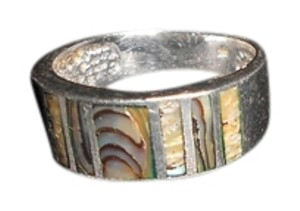STERLING ABALONE INLAY STERLING SILVER ABALONE INLAY WOMEN'S BAND SIZE 8.25