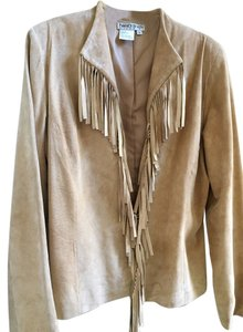 City Girl by Nancy Bolen Fringe Suede Camel Leather Jacket