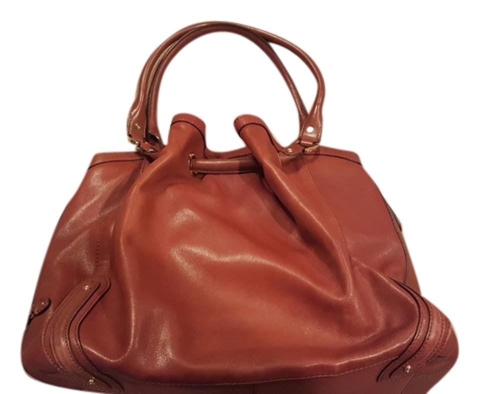54d4b0efe80 Cole Haan Paige Collection Brown Leather with Fabric Interior Hobo Bag