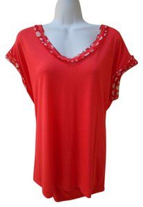 Pleione Anthropologie Shirt Pull Over Orange Coral Trim Dots Small Small S 4 6 8 Cover Up Sleeveless Cap Soft T Shirt Coral Orange