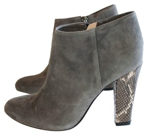 Alexandre Birman Ankle Chunky Python Suede Side Zip Designer Grey Boots