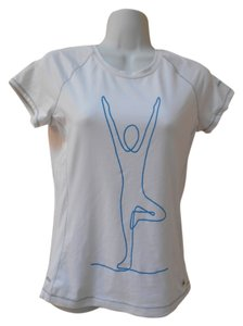 Alo Medium Yoga Athletic Dry T Shirt White with Blue