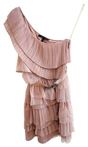 BCBGMAXAZRIA One Shoulder Tulle Tiered Dress