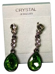 Other New Silver Tone Crystal Dangle Earrings Green J1370