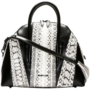 Helmut Lang Leather Animal Print Large Structured Satchel in Animal print/Python